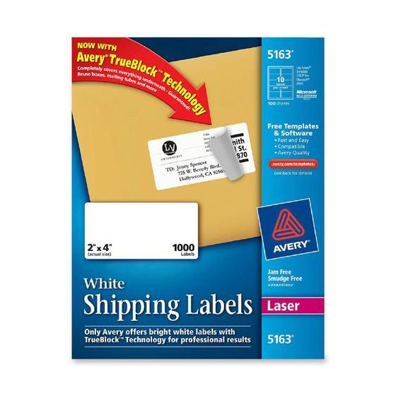 avery 5163 2 x 4 u0026quot  white shipping labels