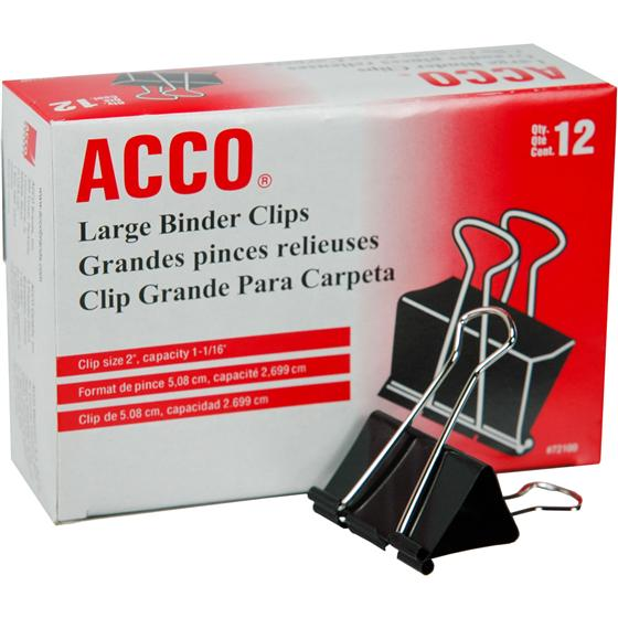 "Acco 72100 Large Binder Clips, 2"" Wide"