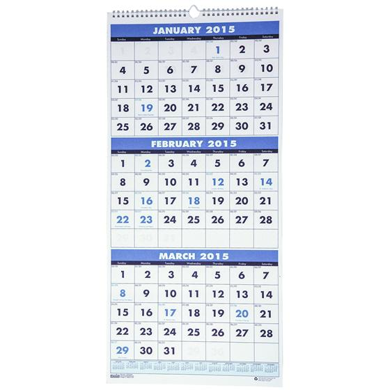 three month calendar 2015