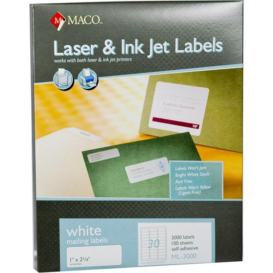 maco ml 3000 1 x 2 5 8 white laser inkjet mailing labels. Black Bedroom Furniture Sets. Home Design Ideas