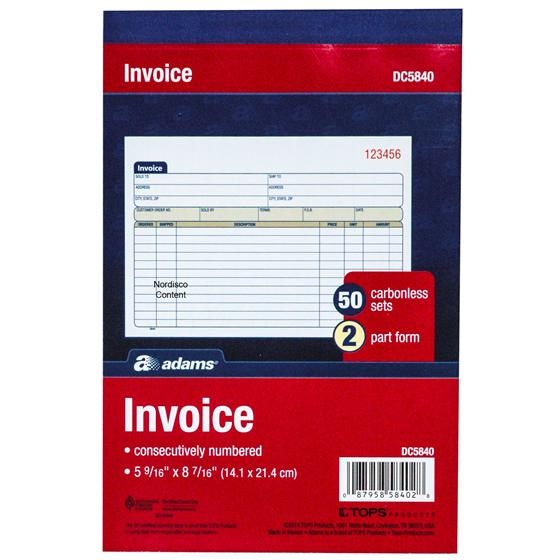 adams invoice books
