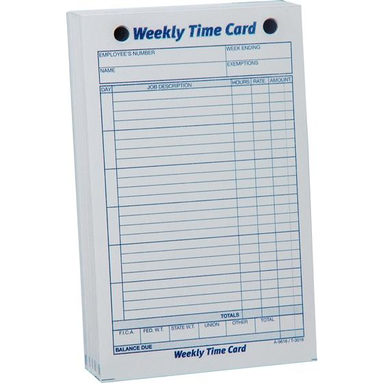 Adams 9616 Weekly Time Card, 4-1/4 x 6-3/4"