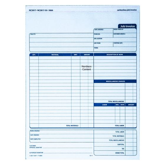 adams nc2817 carbonless job invoice  2 part  8 2 x 11