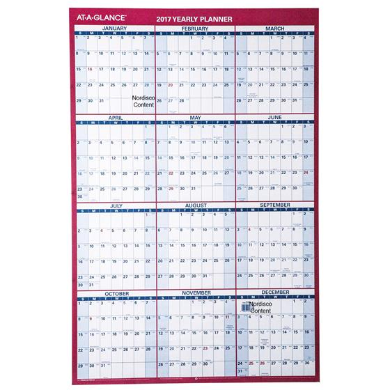 At A Glance 2017 Yearly Planner Pm26 28 Dry Erase Wall Calendar 24 X ...