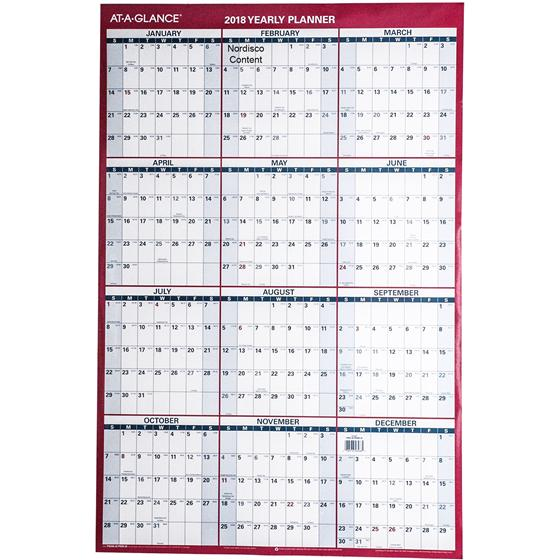 At-A-Glance 2018 Yearly Planner PM26-28, Dry Erase Wall Calendar, 24 x ...