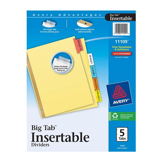 avery 11109 big tab insertable dividers  8 2 x 11 u0026quot   5