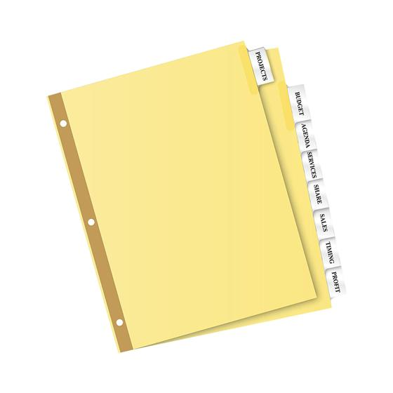 Avery 11112 big tab insertable dividers 8 1 2 x 11 8 for Avery big tab inserts for dividers 8 tab template