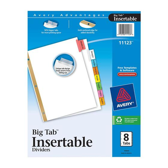 avery big tab inserts for dividers 8 tab template avery 11123 big tab insertable dividers 8 1 2 x 11 8