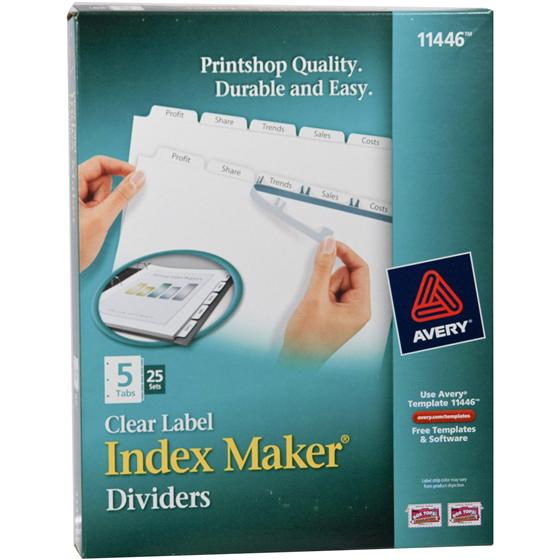 avery 11446 clear label index maker dividers nordiscocom With avery 11446