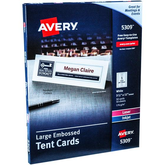avery 5309 large embossed tent cards  3 2 x 11 u0026quot   white