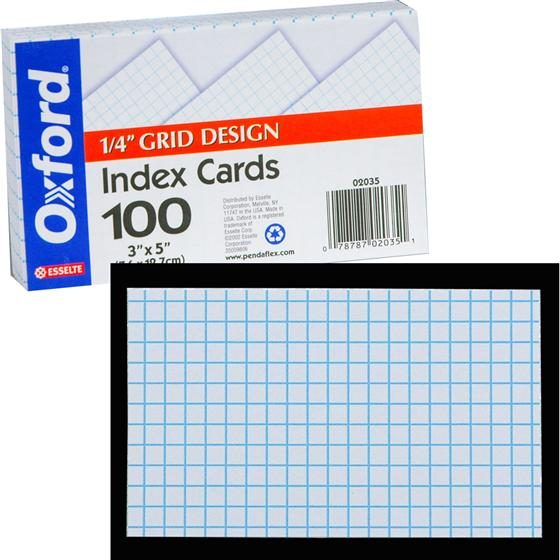 grid index cards  3 x 5 u0026quot   1  4 u0026quot  grid ruled  oxford 02035