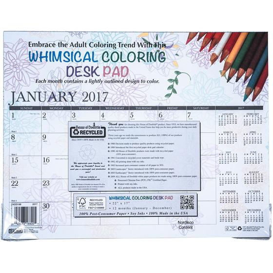 Hod188 House Of Doolittle 2017 Whimsical Floral Doodle Pad