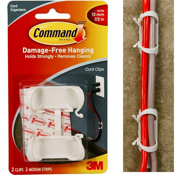 3m command 17303 large cord clips holds 12 mm 1 2. Black Bedroom Furniture Sets. Home Design Ideas