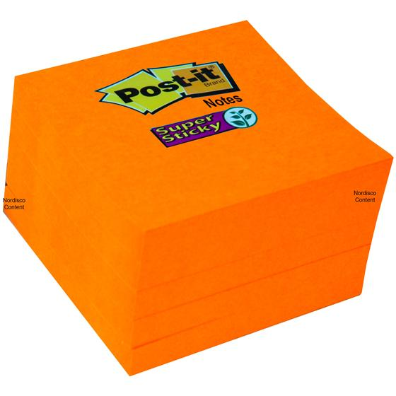 Neon Orange Post-it Notes, Super Sticky, 654-5SSNO, 3 x 3 ...