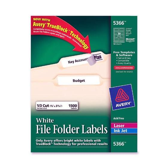 avery 5366 white file folder labels