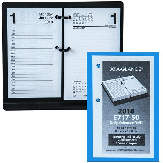 At-A-Glance E717-50 2018 Daily Calendar Refill, 3-1/2 X 5-27/32