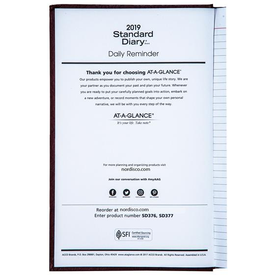 2019 at a glance sd377 red standard diary daily journal 7 7 8 x 12