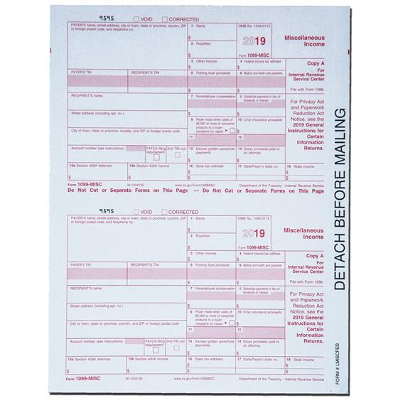 2019 Tops 22993 1099 MISC Tax Forms 5-Part, 50 Forms Plus