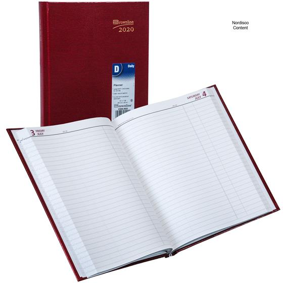 2020 brownline c550 red daily planner  hard cover  10 x 7