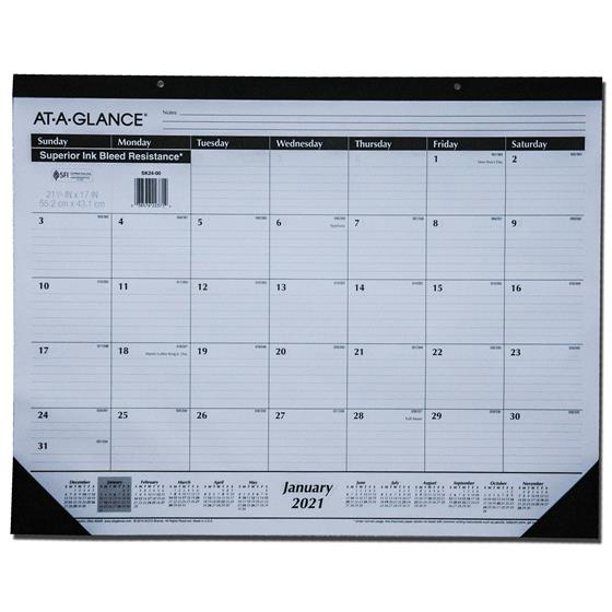 2021 At-A-Glance SK24-00 Desk Pad Calendar, 21-3/4 x 17 ...