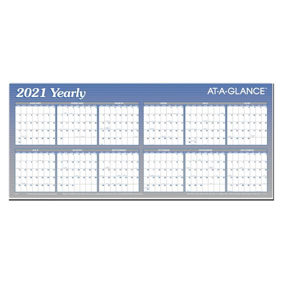 2021 Yearly A177 At-A-Glance Dry Erase Wall Calendar 26 x ...