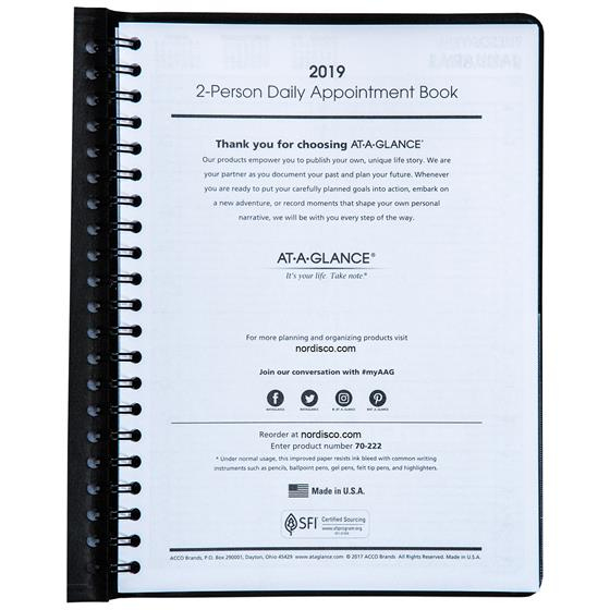 at a glance 70 222 2019 2 person daily appointment book 8 x 10 7 8