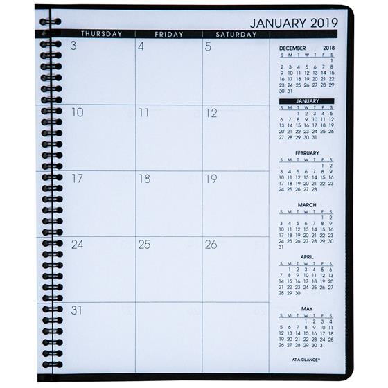 at a glance 70 260 2019 monthly planner 8 7 8 x 11 black cover