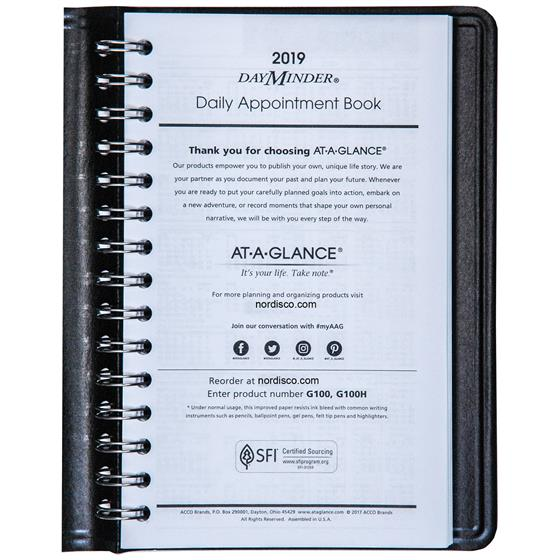 at a glance dayminder g100 2019 daily appointment book 4 7 8 x 8