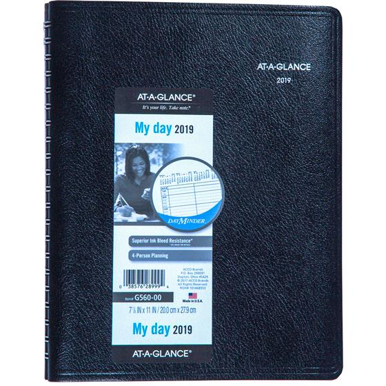 at a glance dayminder g560 00 2019 4 person daily appointment book