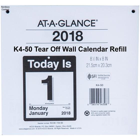 at a glance k4 50 2018 today is tear off wall calendar refill 8 1 2 x 8 nordisco com
