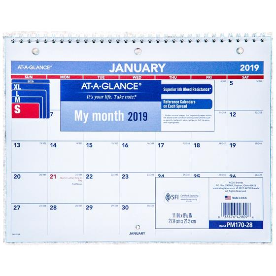 At A Glance Pm170 28 2019 Monthly Desk Wall Calendar 11