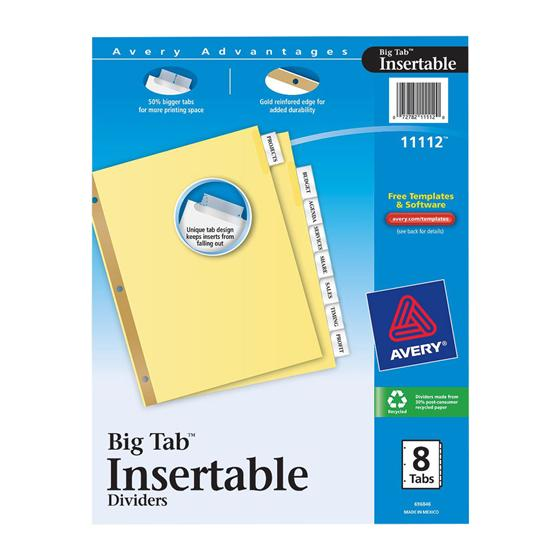 Avery 11112 Big Tab Insertable Dividers 8 12 X 11 8 Tab Clear