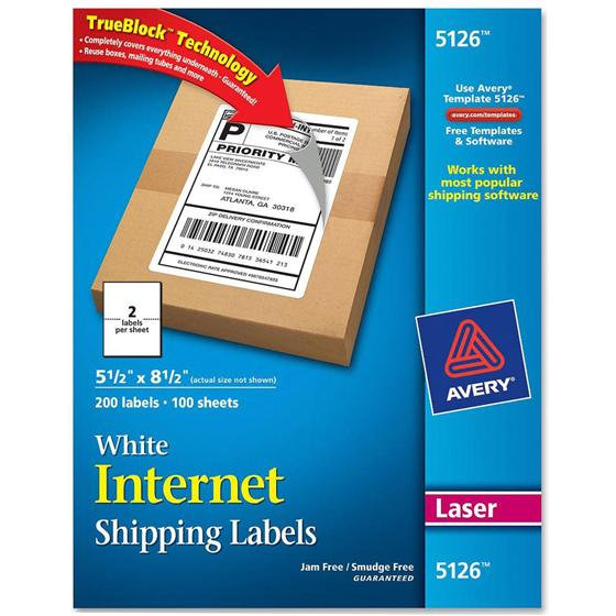 Avery 5126 55 X 85 White Internet Shipping Labels Nordisco