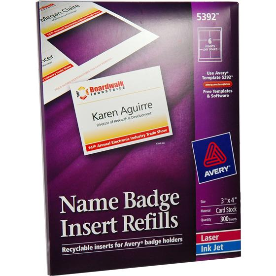 Avery 5392 Names Badge Insert Refills 3 x 4\