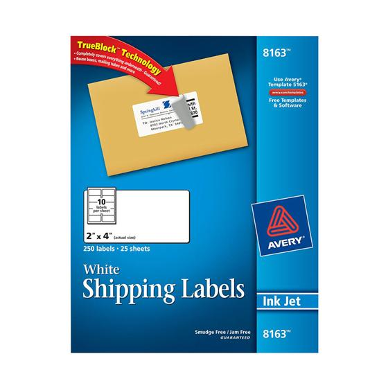 Avery 8163 White Easy Peel Shipping Labels 2 X 4 Inkjet Pack Of