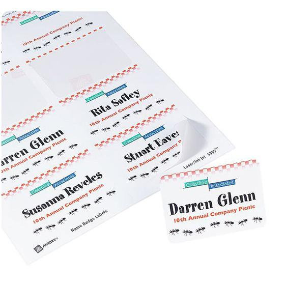 avery 8395 white adhesive name badges 2 1 3 x 3 3 8 pack of 160