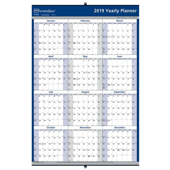 brownline c177368 2019 yearly planner 24 x 36 erasable wall