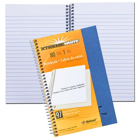 National 33502 Subject Wirebound Notebook College Rule 80 Sheets White 7 3//4 x 5