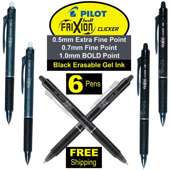 Pilot FriXion Clicker Pens 05 07 & 10, Black Erasable Gel ...