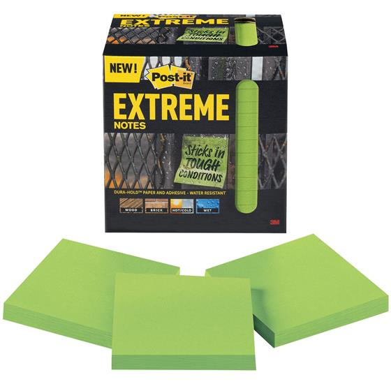 """Post-it Extreme Notes EXTRM33-12TRYG, 3x3"""", Green, Pack Of"""