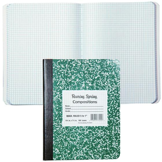 roaring spring 77255 quad ruled composition notebook