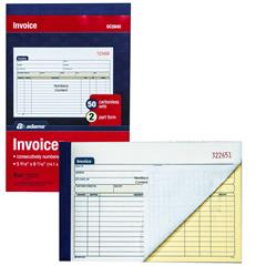 Adams DC Invoice Book Part Carbonless Sets Numbered - 2 part invoices