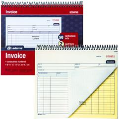 Adams SCD Invoice Book Part Carbonless Sets Numbered - 2 part invoices