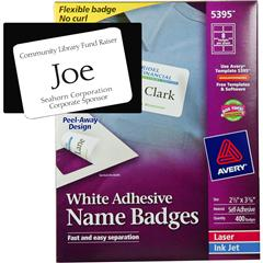 avery 5395 white adhesive name badges 2 1 3 x 3 3 8